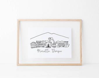Marietta, Georgia Skyline Art Print