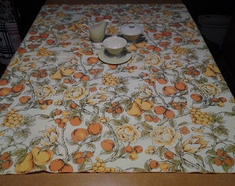 Vintage Tablecloth, Fruits & Roses Spring Theme,  Retro, kitchen kitsch, FREE Shipping!
