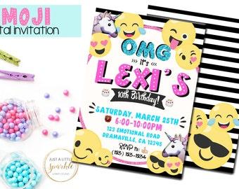Emoji invitation, Emoji invite, Emoji Party Printable, Emoji Printable, Digital Emoji Invitation