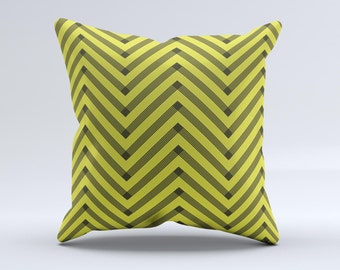 Gold & Black Sketch Chevron Throw Pillow