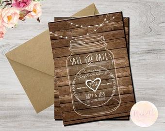 DIGITAL Save the Date Mason Jar Invitation/card