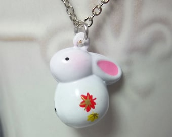Bunny Necklace Stocking Stuffer Christmas Gift Kids Jewelry Little Girl Necklace Charm Necklace