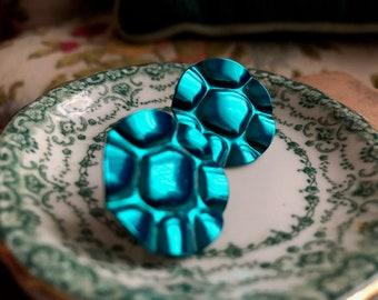Blue Earrings Vintage Metal Teal Circles Flowers Stud Post Metallic