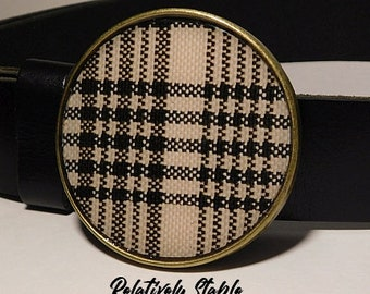 Equestrian belt, horseman's plaid brass belt buckle, preppy belt buckle-fits snap belts