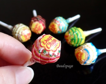 Miniature Lollipops Candy Sweets - Blythe Pullip DAL Dolls Fake Food Cute Kawaii DIY Craft Food Jewelry, size: 1.4cm(W) x 3.5cm(H)