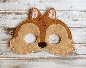 Chipmunk Mask,  Felt, Kids Mask, Pretend Play, Dress Up - Halloween, Costume