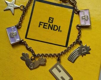 Fendi bracelet with charms vtg rare