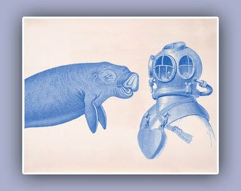 Dolphin Diver Helmet Print,  Vintage images scuba diving helmet  and halicore dolphin, steampunk Sea Life and  Nautical art, coastal living