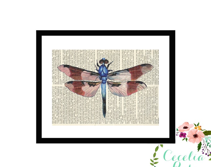 Dragonfly Upcycled Vintage Book Art Box Frame or Print Farmhouse Style