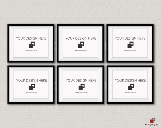 BLACK FRAME MOCKUP / 8x10 / Set of 6 horizontal Black Frame Mockup / Instand Download / download Frame Mockup / Empty Mockup Frame / Mockup