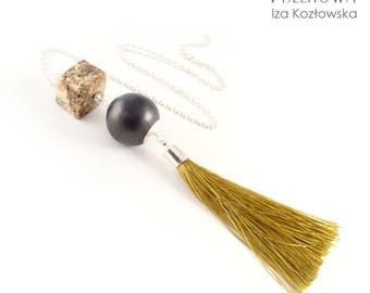 Boho Cubber - necklace with tassel pedant, amber and ceramic