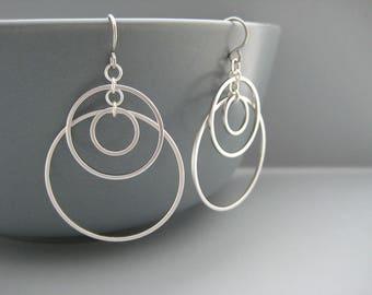 Multi Hoop Earrings - Triple Silver Open Circle, Modern Art Deco Jewelry - Sunset Small