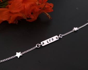 Sterling Silver Name Bracelet with star Charms -  Delicate Layering Bracelet - Silver Chain Bracelet - Handmade Sterling Silver Bracelet