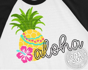 Pineapple svg, Aloha SVG, be a pineapple, SVG file, Hibiscus svg, luau birthday, cruise svg, summer svg, vacation svg, socuteappliques