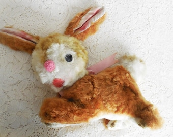 Vintage Plush Carnival or Circus Novelty Prize, Toy Bunny Rabbit, 1950's Fuzzy Plushie, Excelsior Filled