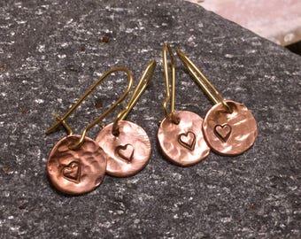 Copper Luna Love; Friendship Earrings