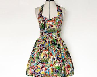 Marvel dress-comic book, superhero, avengers, Womens halterneck