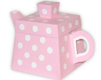 Polka Dot Teapot Favor Gift Box Printable Color Template Digital PDF (custom colors available)