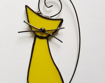 Yellow Cat lovers (1pc) suncatcher stained glass tiffany kitty decoration glass ornament pendant woman present gift for her him child UK