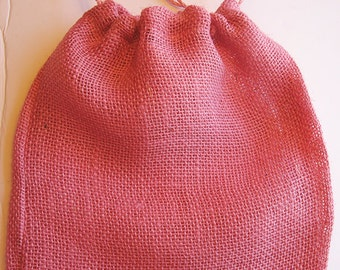 "5 Pink Jute Burlap Drawstring Bags for Wedding, Shower, Crafts and more 12"" x 14"""