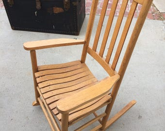 Rocking Chair Porch Rocker Oak Wood Rocking Chair Wooden Southern Rocker Small  Rocking Chair Urban Small Rocking Chair Americana Furniture