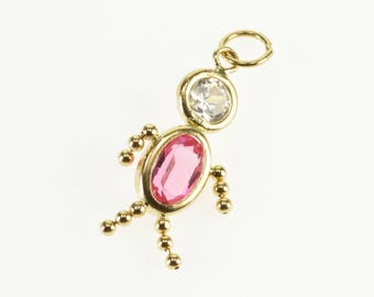 14k Birthstone Babies Pink White Glass October Charm/Pendant Gold