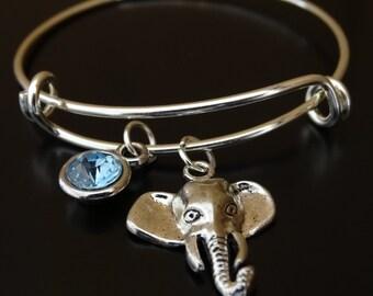 Elephant Bangle Bracelet, Adjustable Expandable Bangle Bracelet, Elephant Charm, Elephant Pendant, Elephant Jewelry, Elephant Lover, Safari