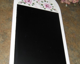 Shabby Cottage Chic Hand Painted Victorian Pink Rose  Office Chalk Board