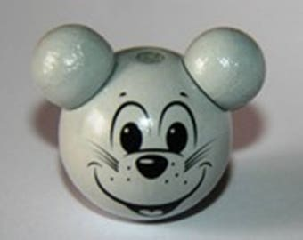 Gray mouse head (F202) wooden beads