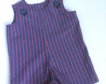 Blue and red striped little boy romper/shortall/Jon jon outfit...baby...toddler...classic...preppy...July 4th...summer...seaside