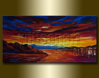 Seascape Painting Oil on Canvas Textured Palette Knife Abstract Modern Original Art 15X30 by Willson Lau