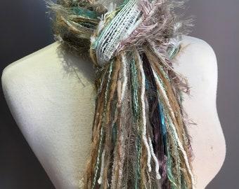 Fringie Scarf, Sea Glass, Knotted handmade Scarf, seafoam cream taupe fringe scarf, boho fashion, accessories, yarn scarf,  tribal artwear