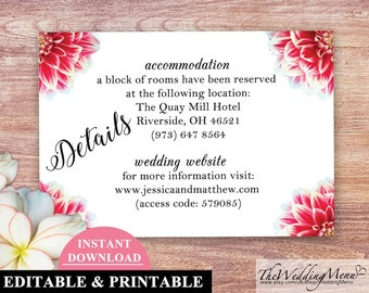 DETAILS Card Wedding INFO Card Details Printable Info Card Wedding DIY Wedding Directions Printable Hotel Directions Reception 002