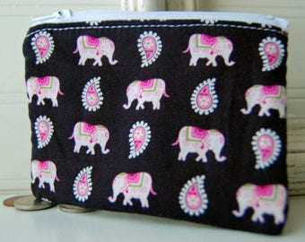 Vera Bradley zippered bag Handmade pink elephants black print small zipper pouch wallet change purse friend gift idea zippered bag