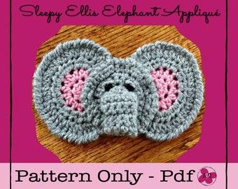 Crochet Elephant Appliqué Pattern - INSTANT PDF DOWNLOAD, Crochet Pattern, Crochet Embellishment, Elephant, Zoo Animal, Nursery Motif, Baby