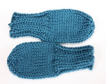 Knit Baby Mittens, Ocean Blue Baby Mittens, Blue Hand Knit Thumbless No-Scratch Mittens, Knit Baby Mittens - Blue Baby Mitts