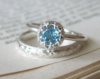 Promise Ring for Her Blue Topaz Alternative Engagement Ring Let them Eat Cake  Sterling Silver Unique Solitaire Ring Blue Engagement Ring
