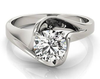 0.70 Carat Total Weight Solitaire Swirl Split Band Engagement Ring