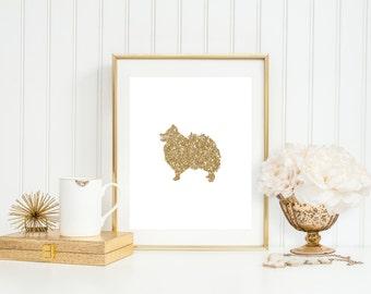 Gold Sparkle Pomeranian Dog Printable - Instant Download - Wall Art Decor - High Resolution JPEG & PDF