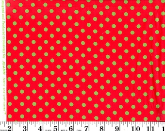 1 yard, Green Dots on Red