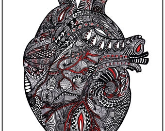 Red Heart - Anatomical - 8x10 or 11x14 PRINT