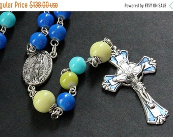 MOTHERS DAY SALE Colorful Ocean Rosary. Blue Rosary. Traditional Rosary. Handmade Rosary. Turquoise Rosary. Catholic Rosary. Green Rosary. H