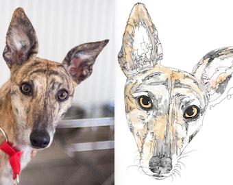Custom Pet or Animal Portrait, Original Watercolour, Commission, Gift.