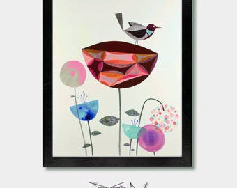 Bird Art - Ready. Bird Prints, Bird Artwork, Bird Lover, Wildflowers, Floral , Washington, Oregon, Seattle , Garden,