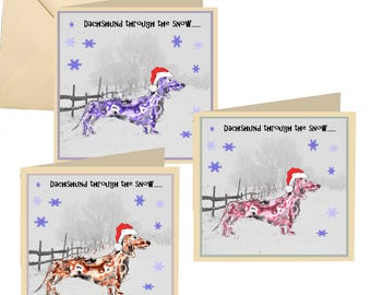 Pack of 6 Christmas cards, Dachshund Christmas card, Christmas card, fun Christmas card, Christmas, holiday card, Xmas card, dog card