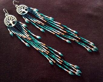 "99.9% Fine Silver Tree Of Life ~  ""Sea & Sand"" Delicate Seed Bead Long Handmade Earrings"