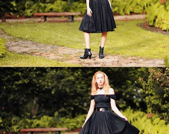 50s Black Party Dress Vintage Bow Pleated Fitted Swing Party Dress