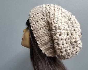Chunky Textured Slouchy Winter Hat Womens Fashion Accessories / the Ottawa / in Cinnamon Oatmeal