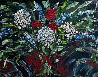 Abstract Art,  American Beauty, Abstract Floral Impasto Painting Original