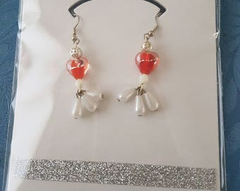 Red Heart With Pearl Earring's ( Handmade Lampwork Beads )